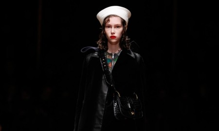 Prada presents nautical inspired pre-fall 2016 collection complete with sailor caps and long coats.