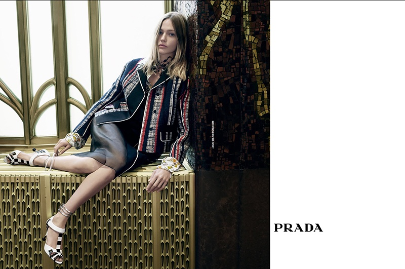 An image from Prada's spring 2016 campaign featuring Sasha Pivovarova