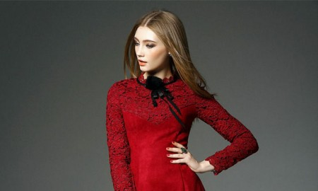 Queen Molock Red Long Sleeve Lace Dress with Suede Panel
