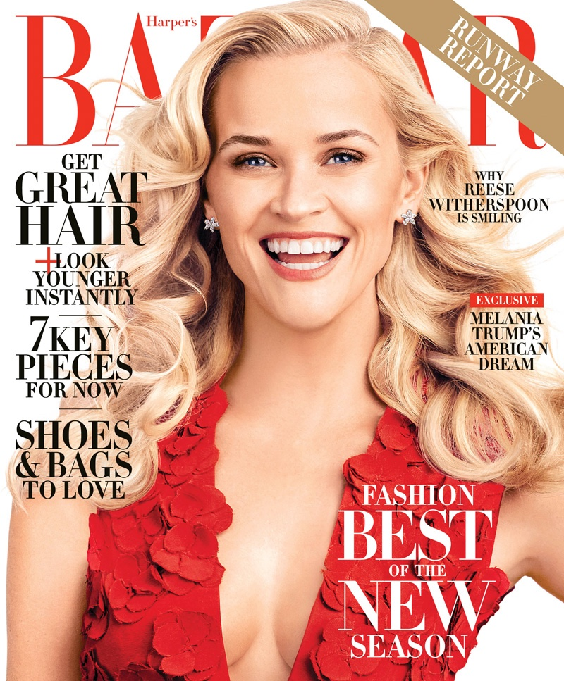 Reese Witherspoon on Harper's Bazaar February 2016 cover