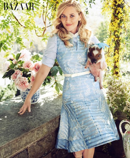 Reese Witherspoon Wears Her Fashion Label in BAZAAR Cover Story