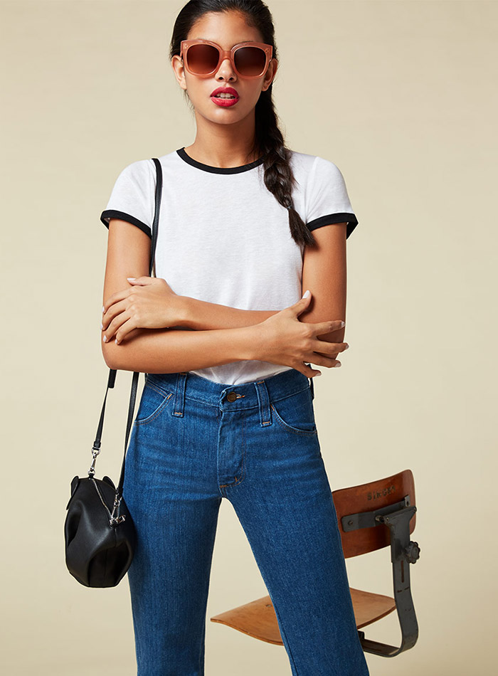 Reformation White T-Shirt with Black Detail $28