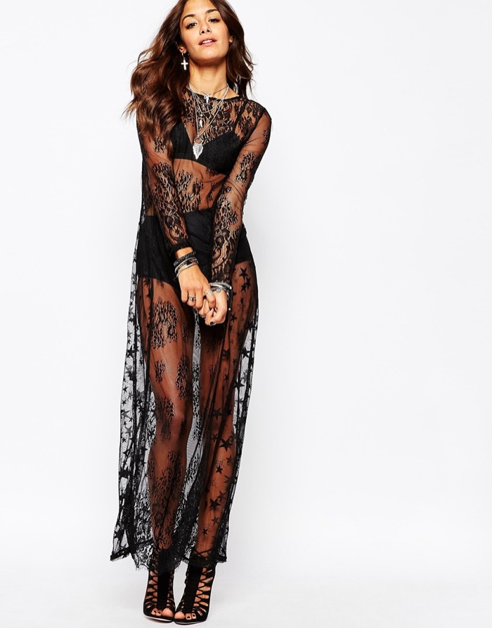 Black boho maxi dress