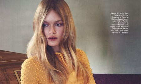 GOLD STAR: The model wears a Alex Perry dress adorned with ruffles