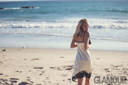 Rosie Huntington-Whiteley Hits the Beach for Glamour UK