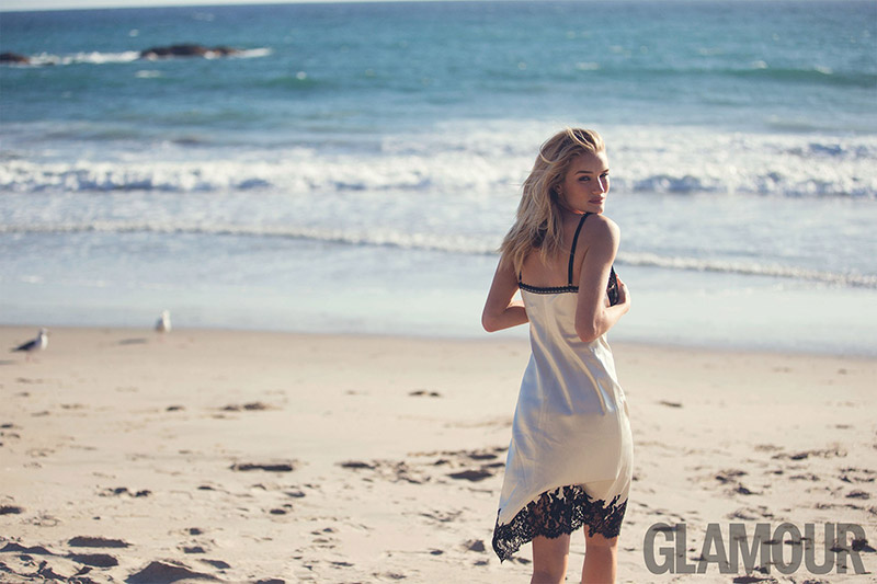 Rosie Huntington-Whiteley poses on the beach for Glamour UK