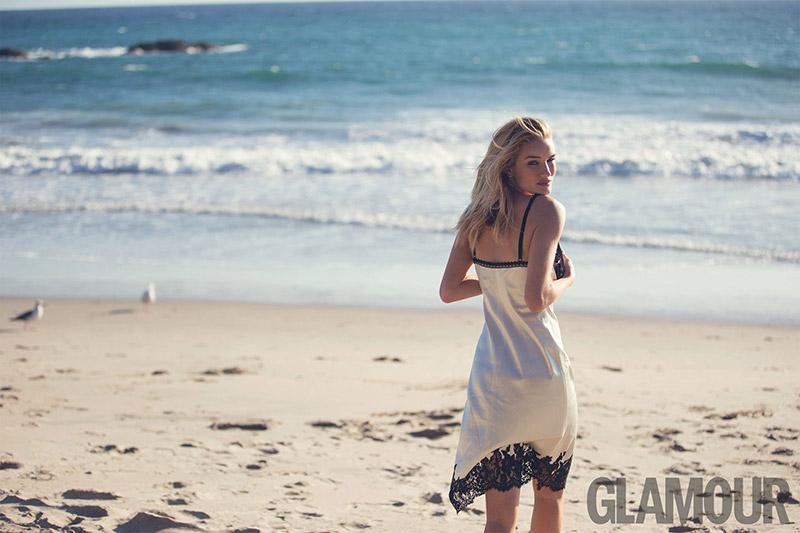 Rosie Huntington-Whiteley Hits the Beach for Glamour UK