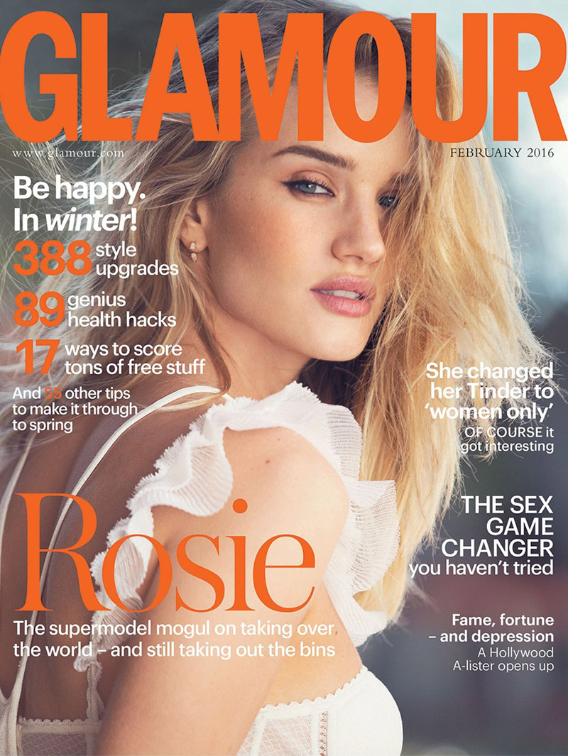 Rosie Huntington-Whiteley on Glamour UK February 2016 cover
