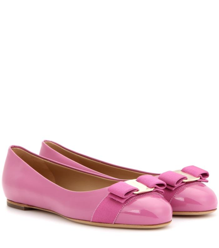 Salvatore Ferragamo Varina Patent Leather Ballerina Flats