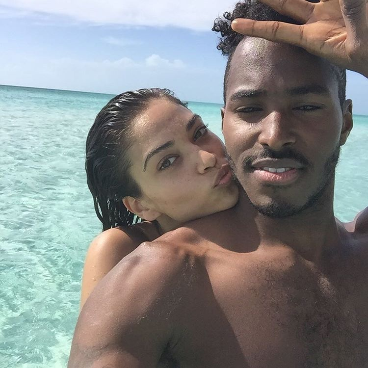 Shanina Shaik with fiance DJ Ruckus in the Bahamas. Photo: Instagram