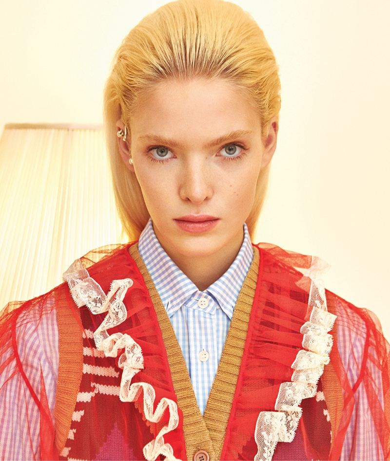 Anastasia models a look from Miu Miu's spring collection