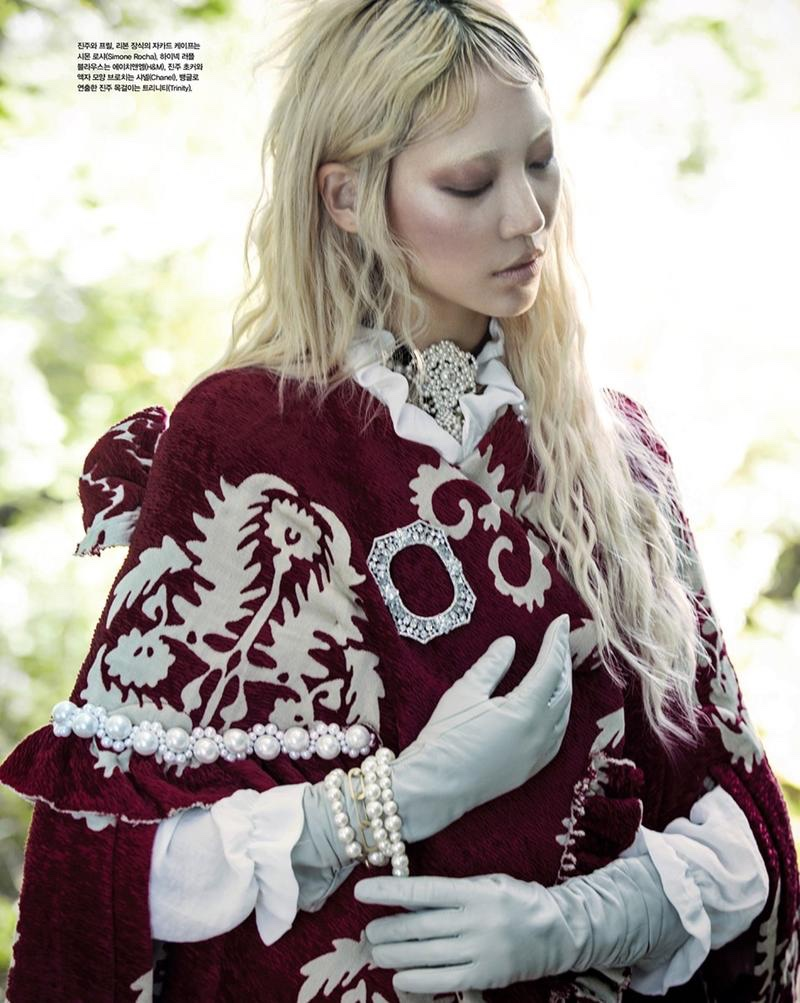 THE NEW EMBROIDERY: Soo Joo models red cape from Simone Rocha