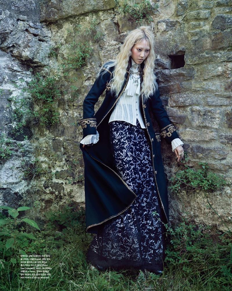 MODERN VICTORIAN: Soo Joo poses in embellished coat