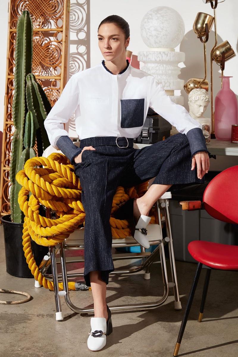 Mariacarla models Prato Shirt, Summa Trousers and Baba Shoes