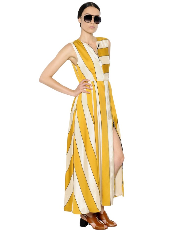 Sportmax Striped Satin Maxi Dress