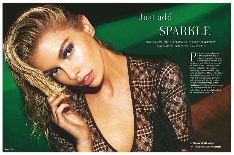 Stella Maxwell Tries On Glittery Makeup Looks For Glamour UK