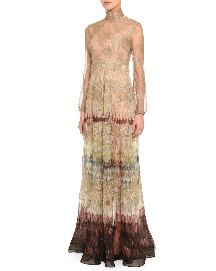 Valentino Angel Wings Print Lace Gown