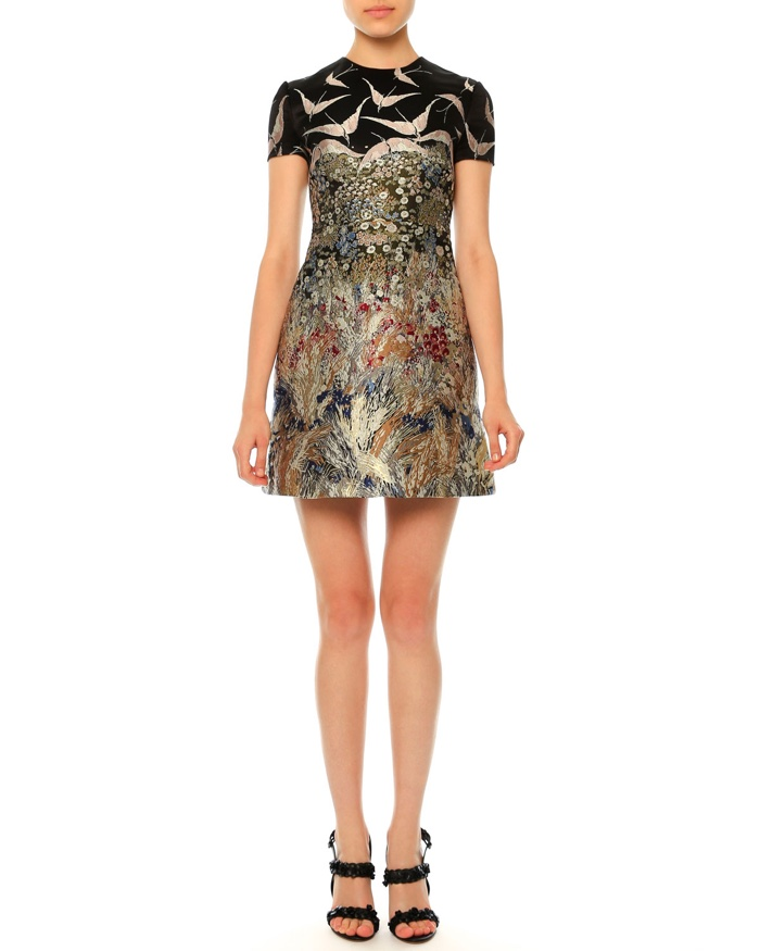 Valentino Short Sleeve Landscape Print Dress