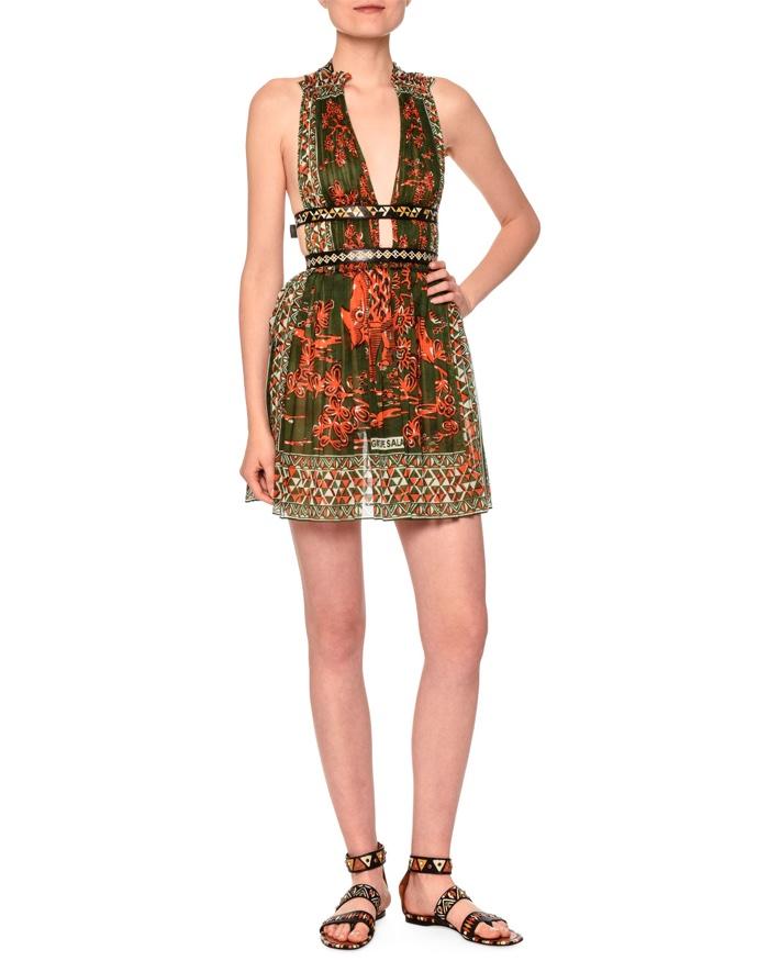 Valentino V Neck Mini Dress with Waist Band