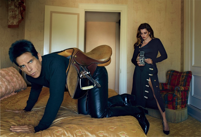 Penelope Cruz plays photographer for a leather clad shot with Ben Stiller. Photo: Annie Leibovitz/VOGUE