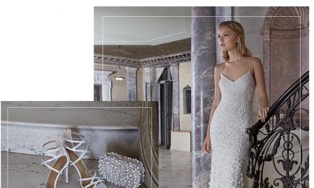 Aquazurra Duchess Satin Sandals, Santi Beaded Box Clutch, Theia Sleeveless Petal Gown