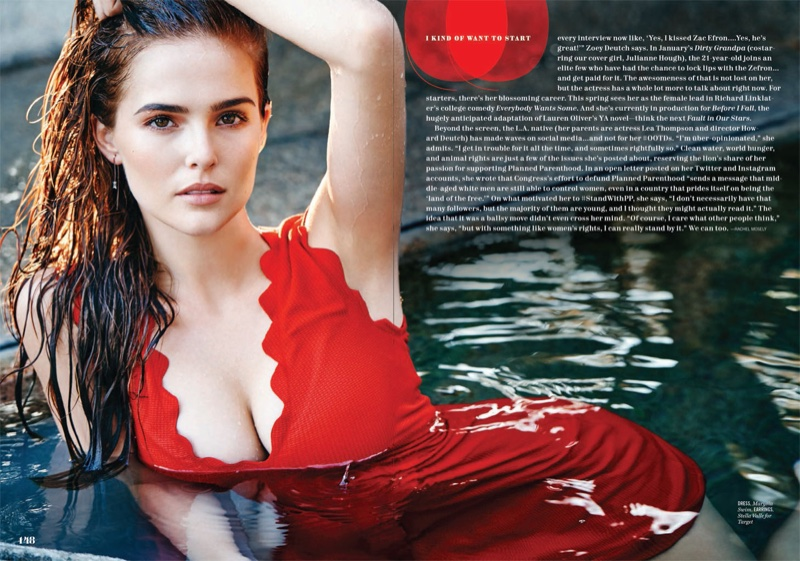 Zoey Deutch wears red dress with plunging neckline from Marysia Swim