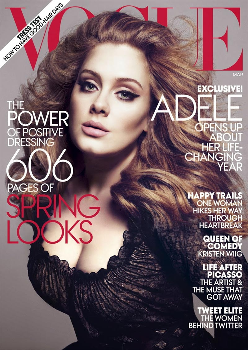 Adele on Vogue Magazine March 2012 cover. Photo: Mert & Marcus