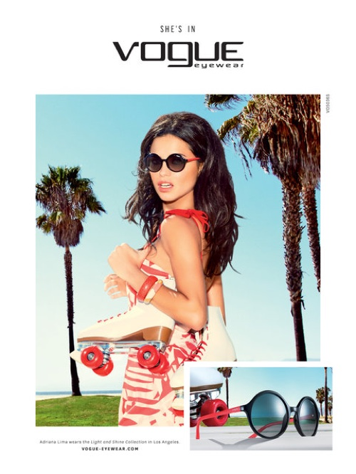 Adriana Lima Is A California Girl In Vogue Eyewear`s Spring Ads
