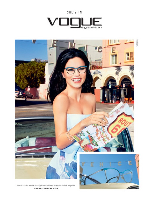 Adriana Lima poses for Ellen Von Unwerth in Vogue Eyewear's spring 2016 advertising campaign