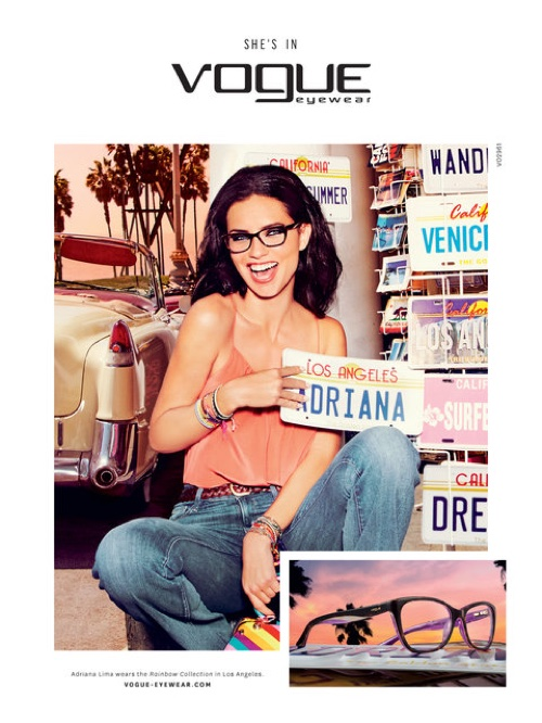 Adriana Lima looks casual in denim for Vogue Eyewear's spring 2016 campaign