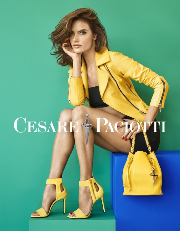 Alessandra Ambrosio poses in yellow heeled sandals in Cesare Paciott's spring 2016 campaign