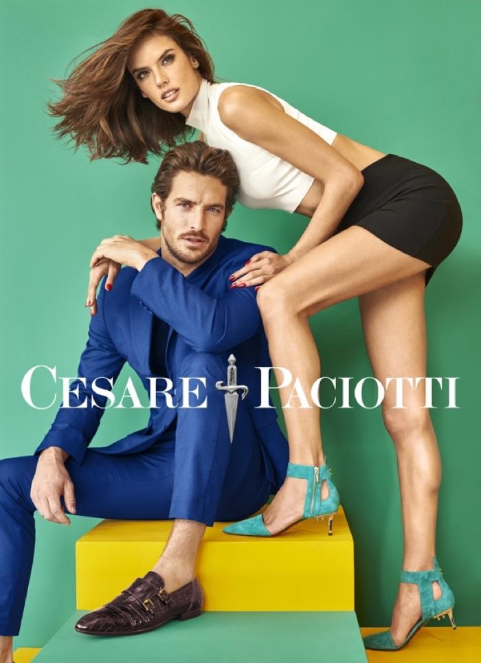 Alessandra Ambrosio poses with Justice Joslin in Cesare Paciotti's spring 2016 campaign