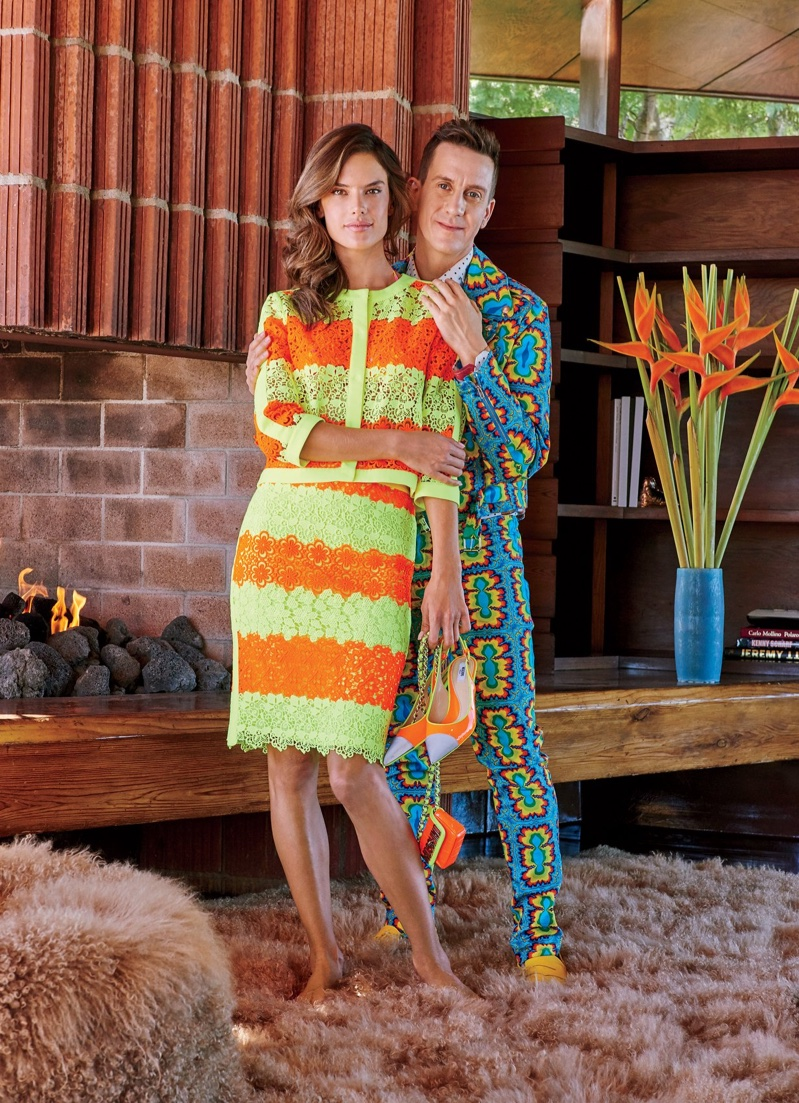 Alessandra Ambrosio poses with designer Jeremy Scott at his home in the Hollywood Hills. Photo: Dominique Vorillon / Vogue
