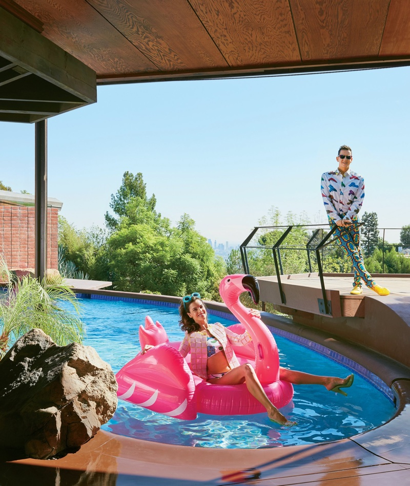 Posing in the pool wearing a Jeremy Scott design, Alessandra Ambrosio models at the designer's Hollywood Hills home. Photo: Dominique Vorillon / Vogue
