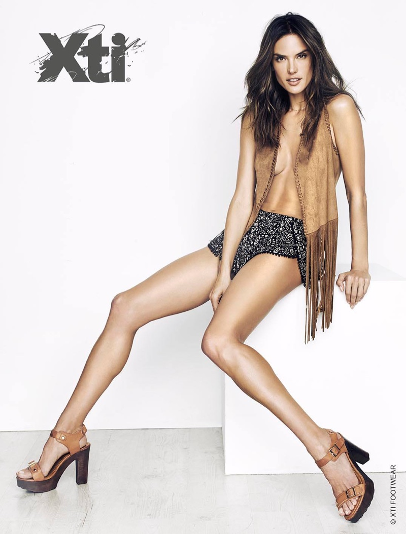 Alessandra Ambrosio Smolders In XTI Shoes Spring 2016 Ads