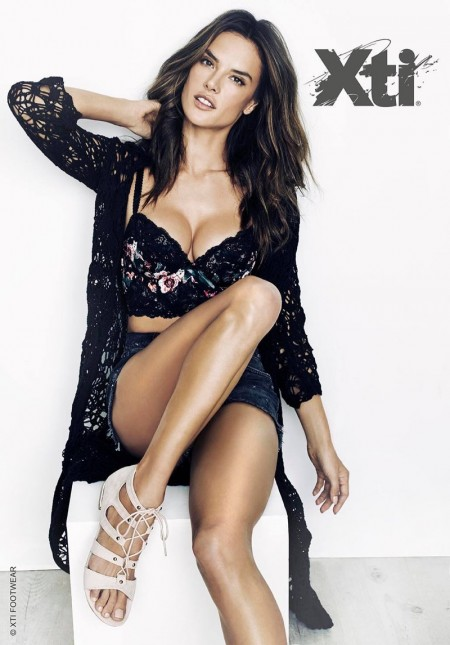 Alessandra Ambrosio Smolders in XTI Shoes' Spring 2016 Ads