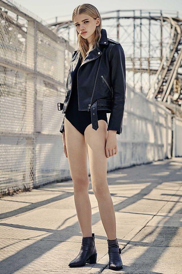 AllSaints Leather Jacket and Zoe Bodysuit