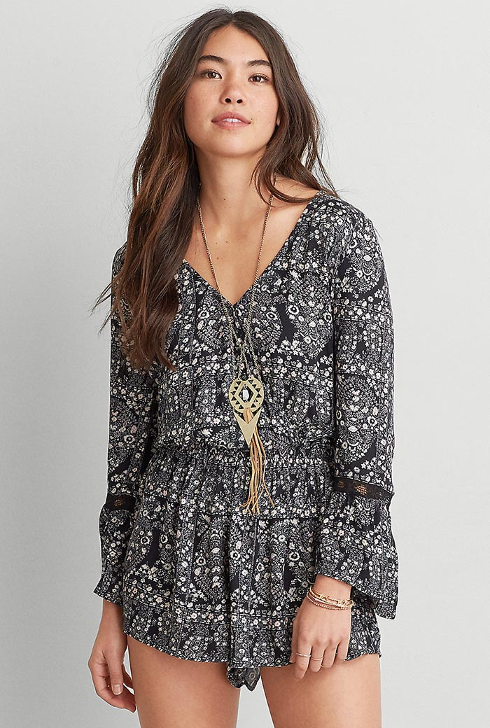 American Eagle Outfitters Bell Sleeve Romper