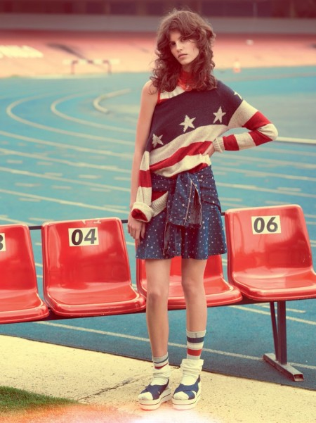 Antonina Petkovic Gets Sporty in Red, White & Blue Fashions for Vogue Brazil