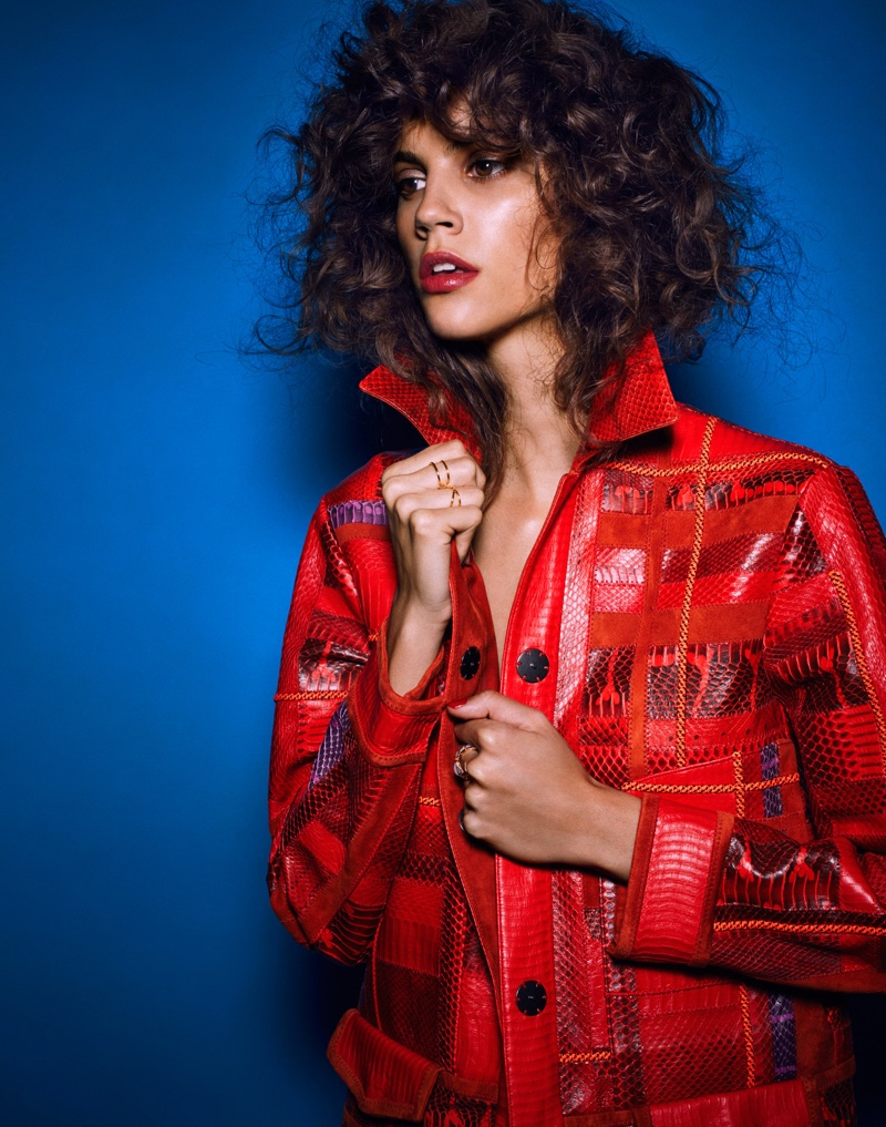 Photographed by Hunter & Gatti, Antonina Petkovic models a red coat
