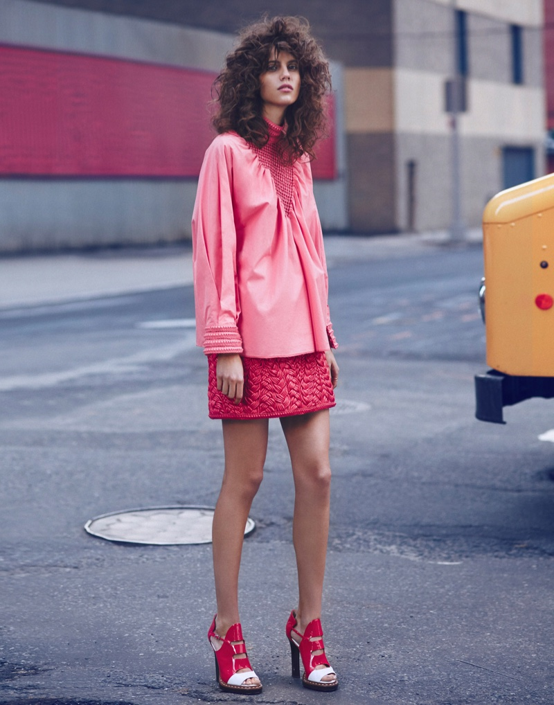 Antonina Petkovic hits the street in a pink Fendi top and short skirt