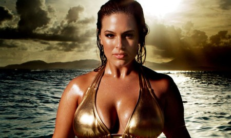 Ashley Graham flaunts her curves in a gold bikini for Swimsuits4All campaign