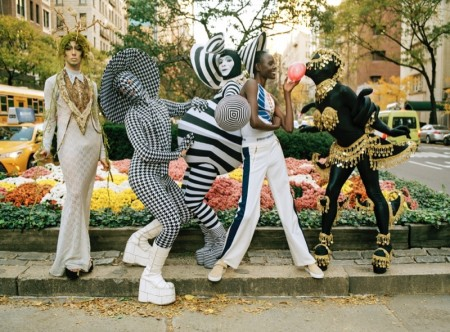 Ajak Deng poses with club kids Club kids Ryan Burke, Sussi, Muffinhead, and Hector Perez in Barneys' spring-summer 2016 campaign