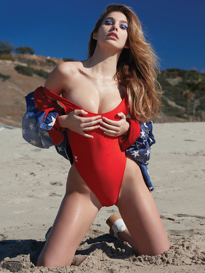 Camila Morrone hits the beach for the latest issue of CR Fashion Book