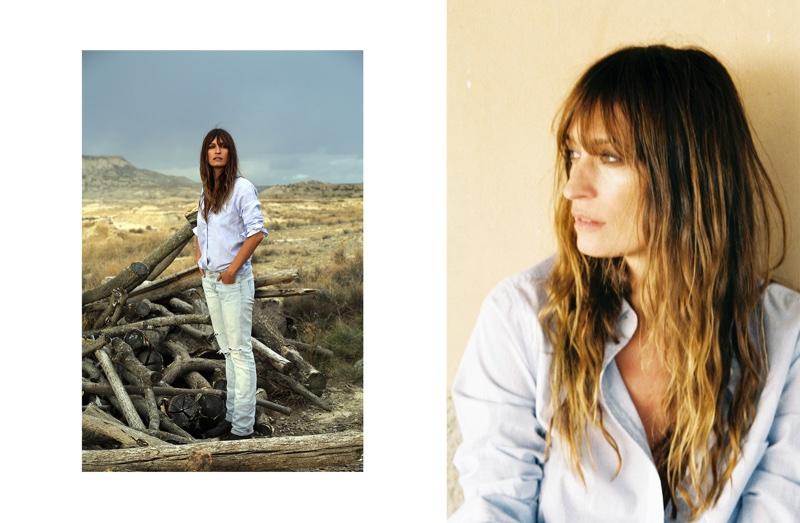 Equipment Margaux Cotton Shirt in Bright White / Biro Blue