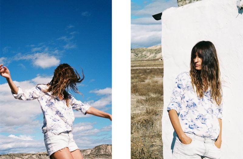 Equipment Henri Collarless Silk Shirt in Nature White / Biro Blue Static Print