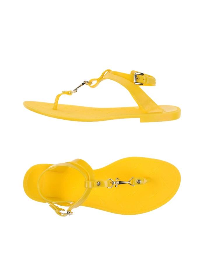 Cesare Paciotti Yellow Flip Flop Sandals