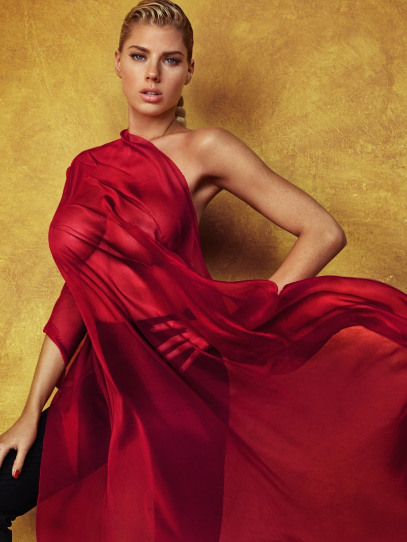 SIMPLY RED: Charlotte McKinney poses nude for the photo feature