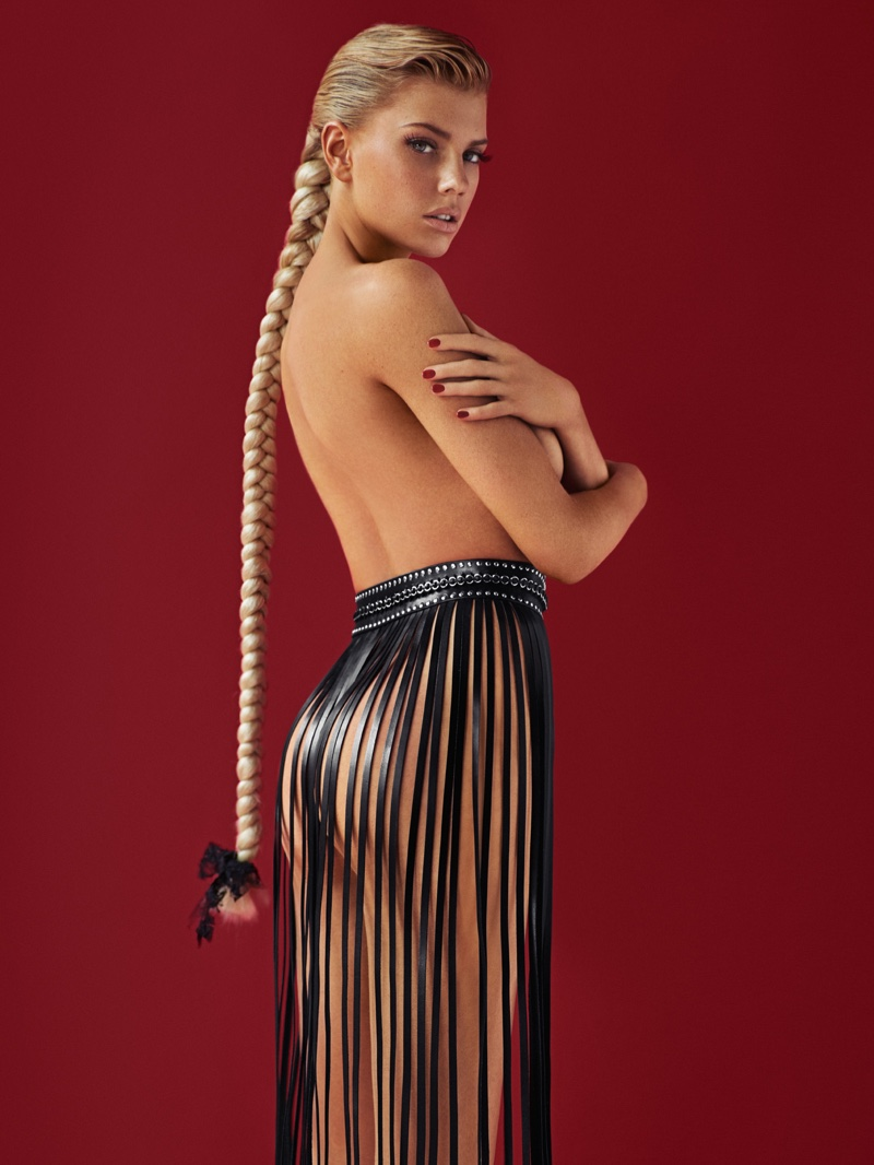 FRINGE IS IN: Charlotte models a fringe skirt with a braided hairstyle