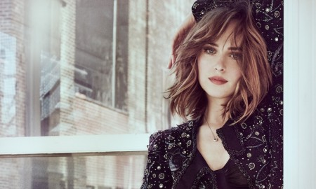 Dakota Johnson poses in black lingerie for the photo session
